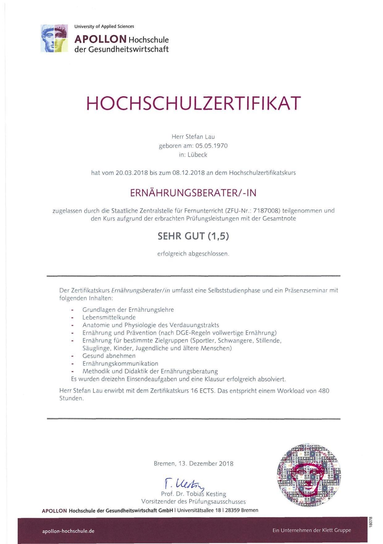 Ernärungsberater Lübeck - Zertifikat Kinder