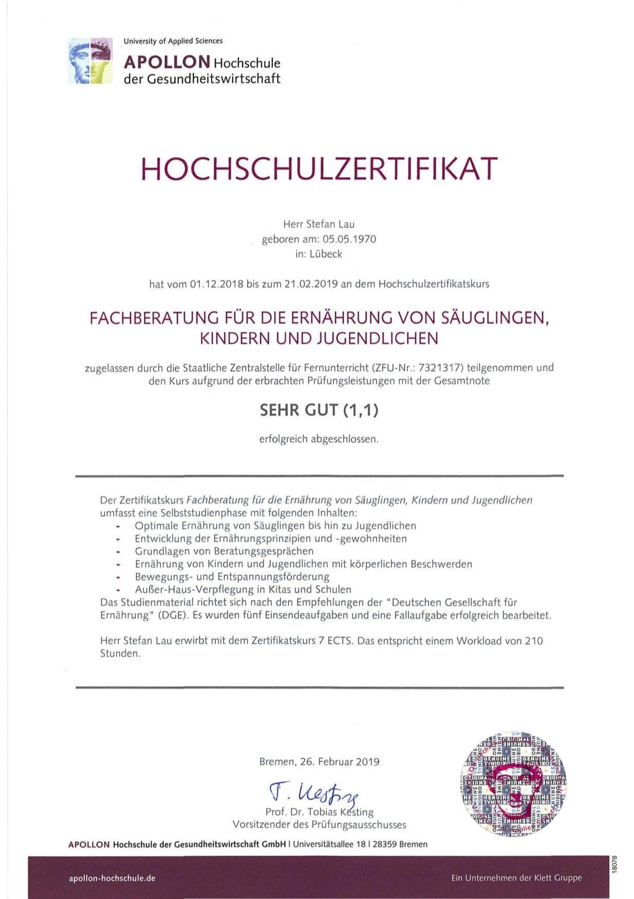 Ernärungsberater Lübeck - Zertifikat